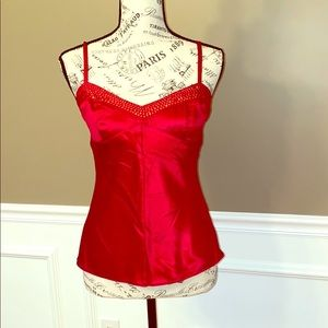 Red silky cami W/sequin detail EUC